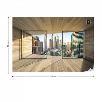 Dubai City 3D Modern Window View Photo Wallpaper Wall Mural