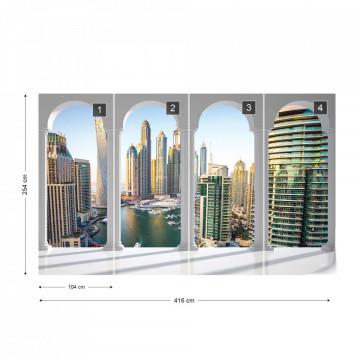 Dubai Marina City Skyline 3D Archway View Photo Wallpaper Wall Mural