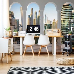 Dubai Marina City Skyline 3D Archway View Photo Wallpaper Wall Mural