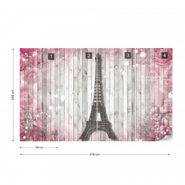 Eiffel Tower Paris Pink Roses Flowers Vintage Wood Planks Photo Wallpaper Wall Mural