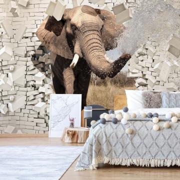 Elephant Bursting Through Brick Wall Photo Wallpaper Wall Mural