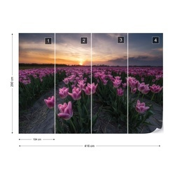 Field Of Tulips Photo Wallpaper Mural