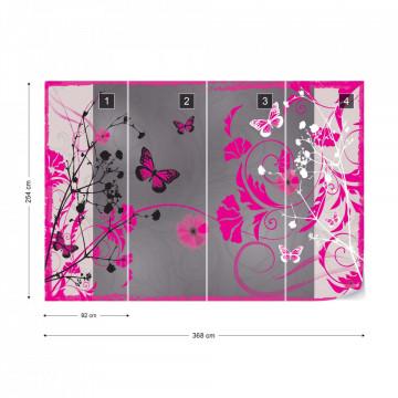 Flowers And Butterflies Modern Design Pink Photo Wallpaper Wall Mural
