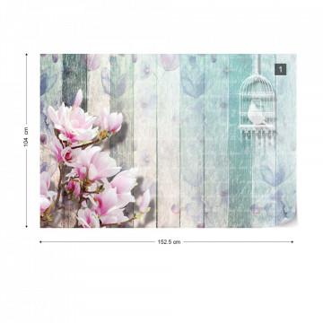 Flowers Vintage Script Rustic Painted Wood Planks Photo Wallpaper Wall Mural