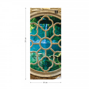 Forest Lake Ornamental Window View Photo Wallpaper Wall Mural