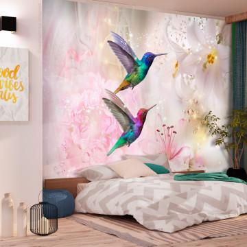 Fototapet autoadeziv - Colourful Hummingbirds (Pink)