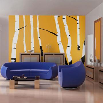 Fototapet - Birches on the orange background