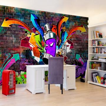 Fototapet - Graffiti: Colourful attack