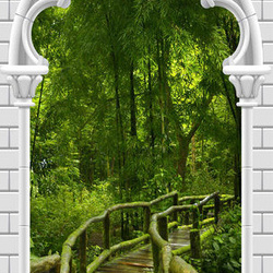 Fototapet pentru ușă - Photo wallpaper - Gothic arch and jungle I