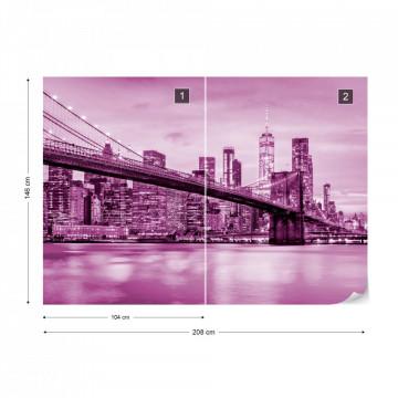 Fototapet - Podul Brooklyn NYC – Violet