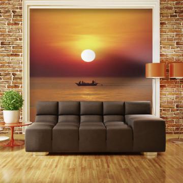 Fototapet - Sunset with fishing boat