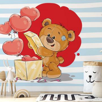 Fototapet - Ursulețul Bradley – Cutie cu Inimioare