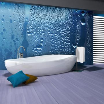 Fototapet - Water drops on blue glass
