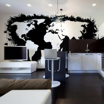 Fototapet - White continents, black oceans...