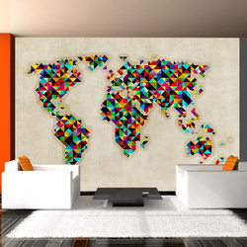Fototapet - World Map - a kaleidoscope of colors