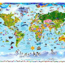 Fototapet - World Map for Kids