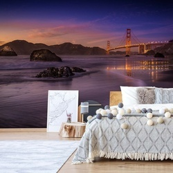 Golden Gate Bridge Fading Daylight Photo Wallpaper Mural