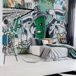 Graffiti Street Art Green Photo Wallpaper Wall Mural