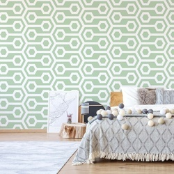 Green Geometric Retro Pattern Photo Wallpaper Wall Mural
