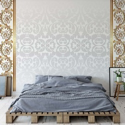 Grey And Gold Ornamental Pattern Photo Wallpaper Wall Mural