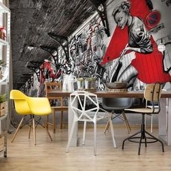 Grunge Graffiti Black White Red Photo Wallpaper Wall Mural