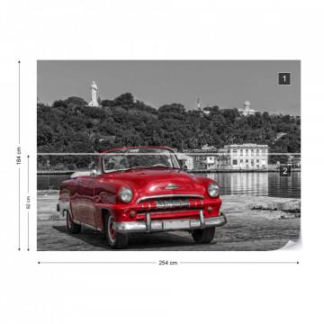 Havanna Cuba Red Vintage Car Photo Wallpaper Wall Mural