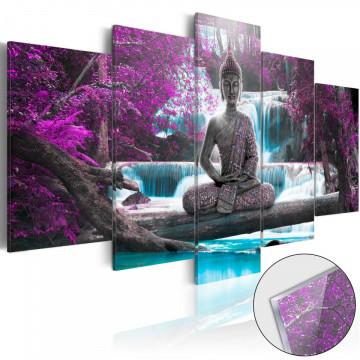 Imagine pe sticlă acrilică - Waterfall and Buddha [Glass]