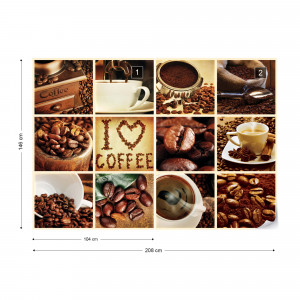 Love Coffee Squares Photo Wallpaper Wall Mural
