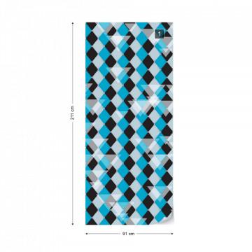 Modern Blue Diamond Pattern Photo Wallpaper Wall Mural