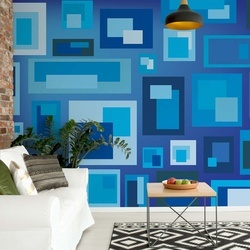 Modern Blue Squares Pattern Photo Wallpaper Wall Mural