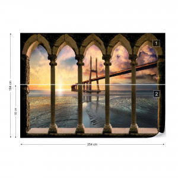 Modern Bridge Stone Archway View Photo Wallpaper Wall Mural