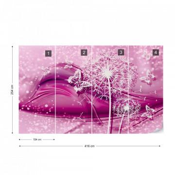 Modern Butterflies And Dandelions Pink Photo Wallpaper Wall Mural