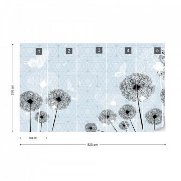 Modern Dandelions And Butterflies Design Light Lue Photo Wallpaper Wall Mural