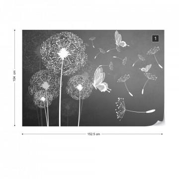 Modern Dandelions And Butterflies In Grey Photo Wallpaper Wall Mural