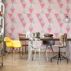 Modern Geometric Pink Triangle Pattern Photo Wallpaper Wall Mural