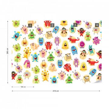 Monsters Pattern Photo Wallpaper Wall Mural