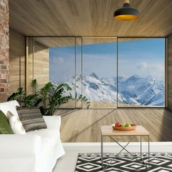 Mountains Snow 3D Modern Window View Photo Wallpaper Wall Mural