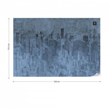 New York City Grunge I Blue