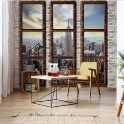 New York City Penthouse Window View Photo Wallpaper Wall Mural