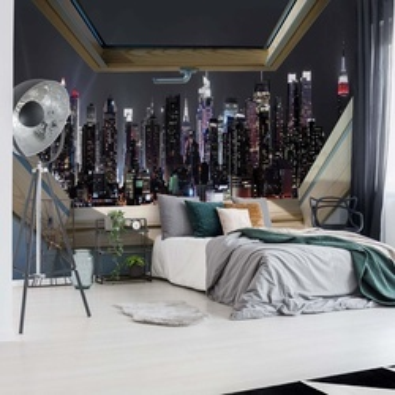 New York City Skyline At Night 3D Skylight Window View Photo Wallpaper Wall Mural