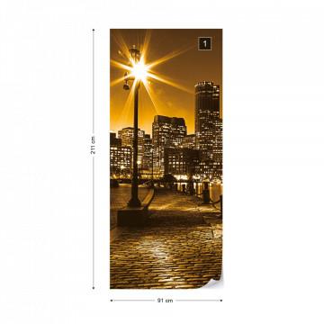 Orange City Skyline Boston Photo Wallpaper Wall Mural