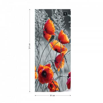 Orange Poppies Black And White Photo Wallpaper Wall Mural