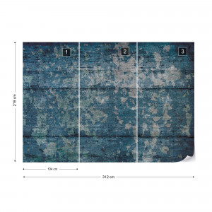 Painted Wood Texture Blue Photo Wallpaper Wall Mural