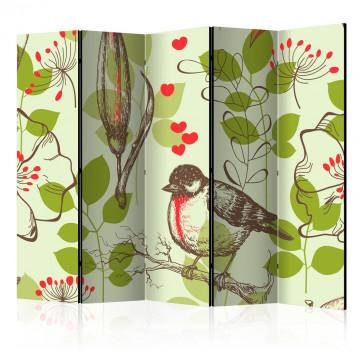 Paravan - Bird and lilies vintage pattern II [Room Dividers]