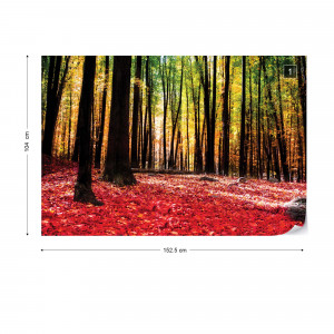 Red Autumn Forest Photo Wallpaper Wall Mural
