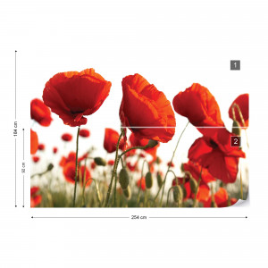 Red Poppies In The Field Photo Wallpaper Wall Mural