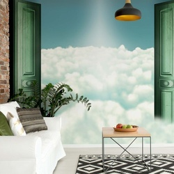Sky And Clouds Door View Photo Wallpaper Wall Mural