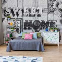 Sweet Home Black And White Vintage Chic Photo Wallpaper Wall Mural
