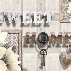 Sweet Home Flowers Vintage Design Yellow Photo Wallpaper Wall Mural