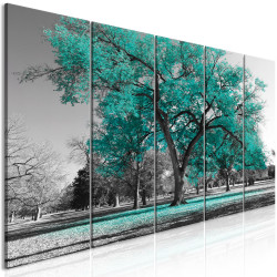 Tablou - Autumn in the Park (5 Parts) Narrow Turquoise